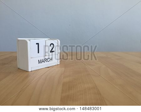 March 12Th. March 12 White Wooden Calendar On Vintage Wood Abstract Background. First Spring Day.cop