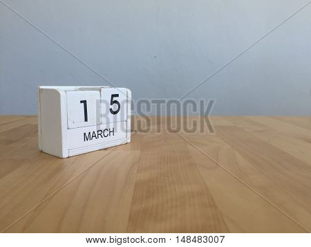 March 15Th. March 15 White Wooden Calendar On Vintage Wood Abstract Background. First Spring Day.cop