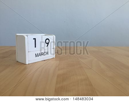 March 19Th. March 19 White Wooden Calendar On Vintage Wood Abstract Background. First Spring Day.cop