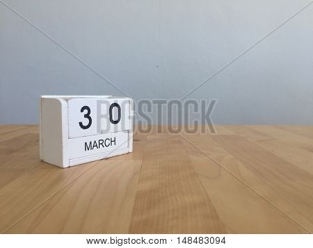March 30Th. March 30 White Wooden Calendar On Vintage Wood Abstract Background. First Spring Day.cop