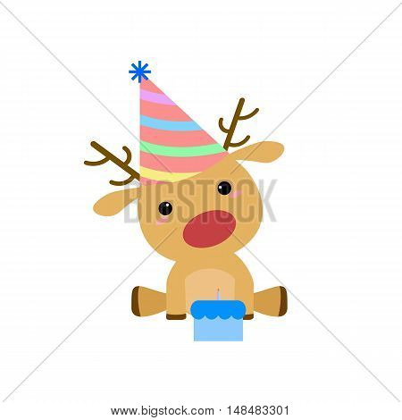 Cartoon Birthday Deer with Hat and Cake