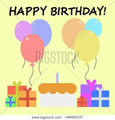 Simple and Flat Happy Birthday Greeting Card