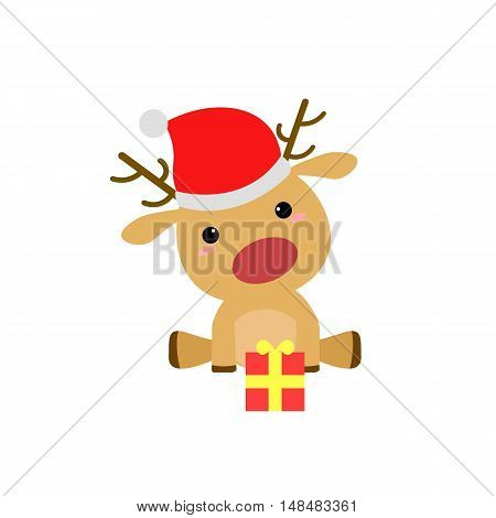 Cartoon Christmas Deer with Santa Hat and Present