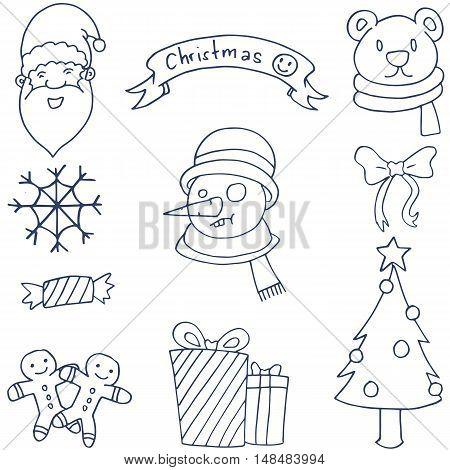 Hand draw christmas set doodles vector art illustration