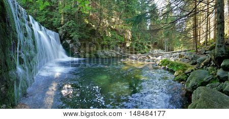 Waterfall cascade on the river Elbe in the Giant Mountains
