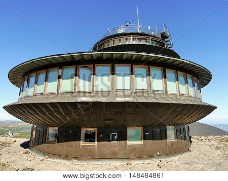 UFO building. The observatory, located on the top of the mountain Snezka in the Giant Mountains. Poland, Europe. September 28, 2016