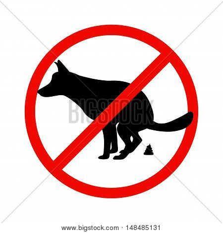 Vector illustration of a prohibition sign paddock animals. Isolated on white background. The concept of dog walking is prohibited.