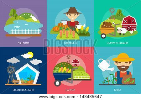 Farm and Ranch Conceptual Design | Set of great flat design illustration concepts for farm, ranch, farmer, people, working and much more.