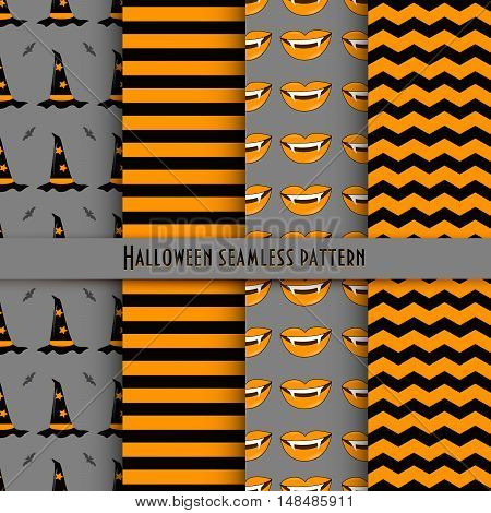 Vector seamless pattern for Halloween in the traditional colors of the holiday.
