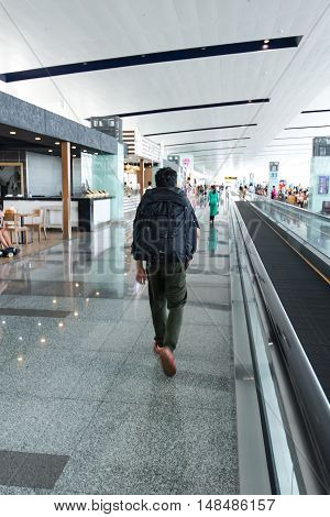 Passenger in an airport Silhouette traveler woman and passenger In the airport