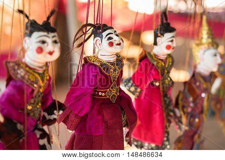 Traditional handicraft puppets souvenir in Bagan Myanmar
