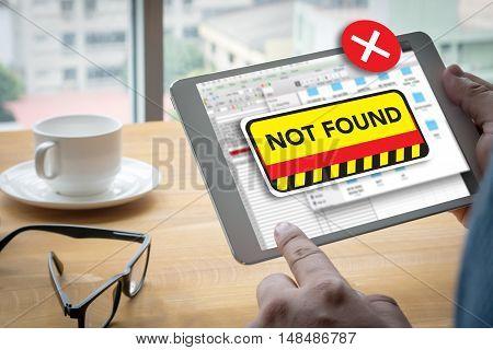 404 Computer Not Found 404 Error Failure Warning Problem