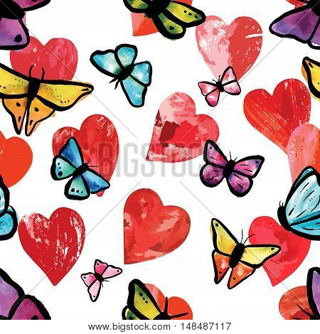 Vector seamless background pattern with print stamped mixed media red hearts and teal blue, purple, and yellow watercolor butterflies, on white