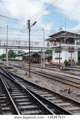 Large junction area of the railway yard of the urban stationThailand.