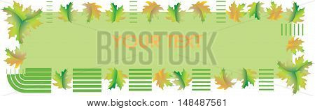 Autumn banner. A warm green background. Poster design, presentations with maple leaves. Vector image.