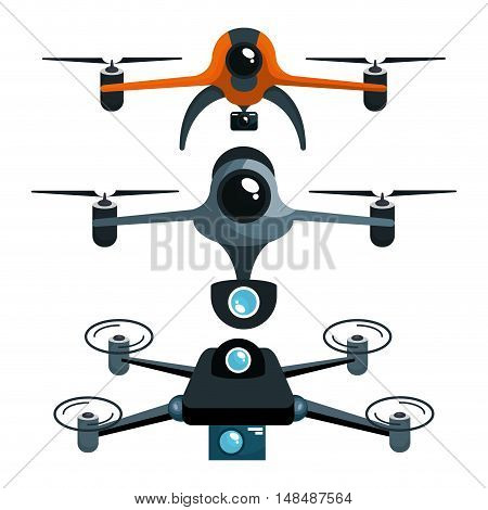 three drones with camera graphic vector illustration eps 10