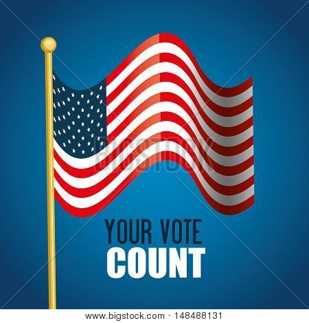 flag usa your vote count graphic vector illustration eps 10
