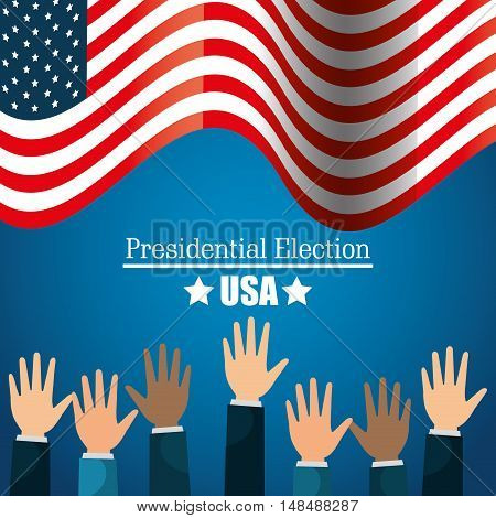 hands raised up election presidential graphic vector illustration eps 10