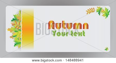 Autumn banner with maple leaves. Vector image for design cards, presentations, posters, brief information.