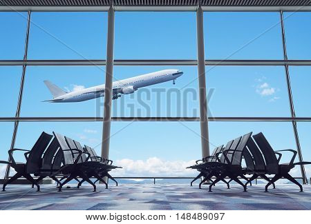 Airplane, View From Airport Terminal.