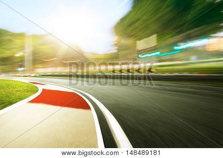 Motion Blurred Racetrack,sunset Scene