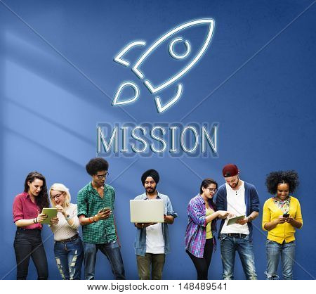 Business Goals Rocketship Target Concept