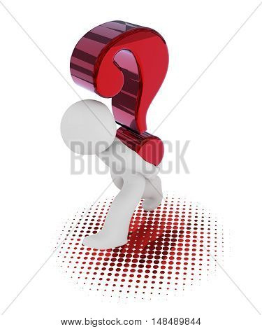 3d rendering of a character with a big red question mark