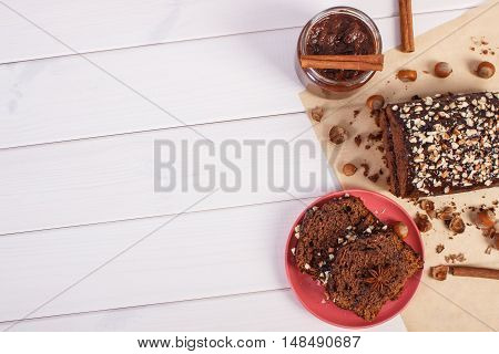 Gingerbread Or Dark Cake With Chocolate, Cocoa And Plum Jam, Copy Space For Text