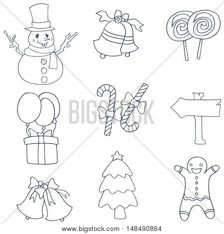 Hand draw flat christmas of doodles vector art