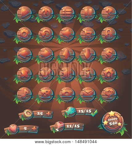 Set buttons and boosters wooden style for web video game