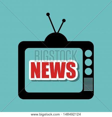 television retro black antenna graphic vector illustration eps 10