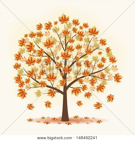 Maple falling yellow leaves. Trees fall. Vector illustration on a beige background.