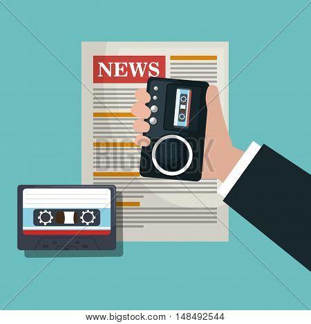 news tape recorder cassette graphic vector illustration eps 10