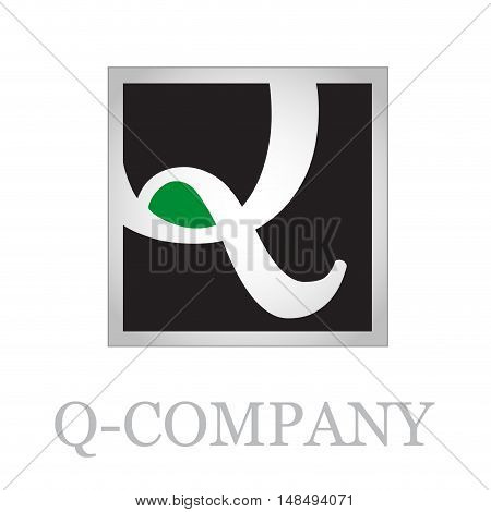 Vector button initial letter Q on black background