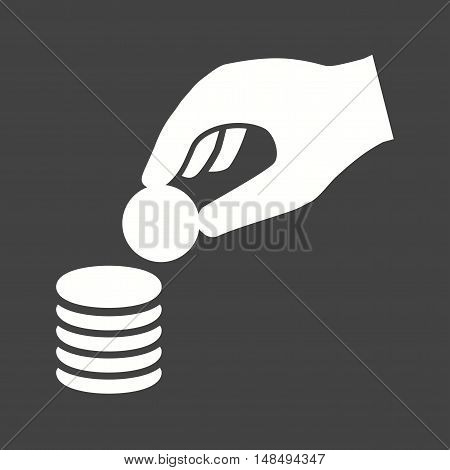 Coin, stack, cash icon vector image. Can also be used for hand actions. Suitable for use on web apps, mobile apps and print media.