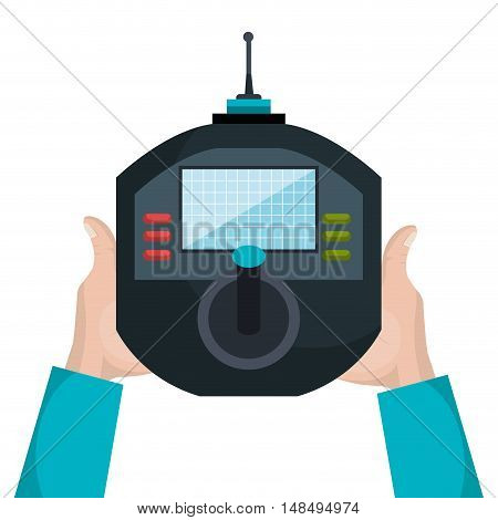 cartoon hand and control drone isolated vector illustration graphic