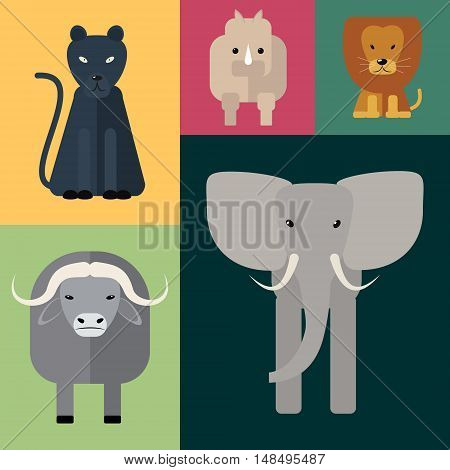 Animals of Africa. Big Five . Vector illustration of a flat on a colored background