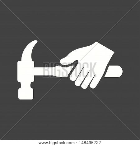 Hammer, tool, hardware icon vector image. Can also be used for hand actions. Suitable for use on web apps, mobile apps and print media.
