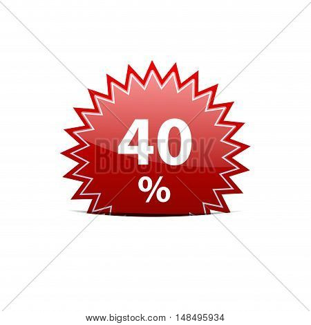 Vector red sign discount 40% isolated illustration