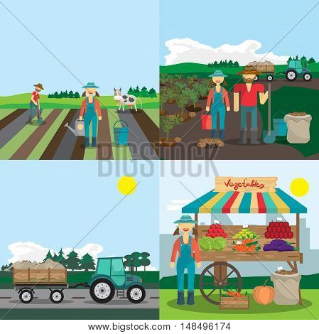 Activities farm family. The process of planting growing vegetables and selling them. 4 steps. Cartoon flat vector illustration