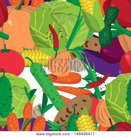 Textile seamless pattern flat cartoon vegetables. Organic healthy food symbols. Harvest autumn agriculture background