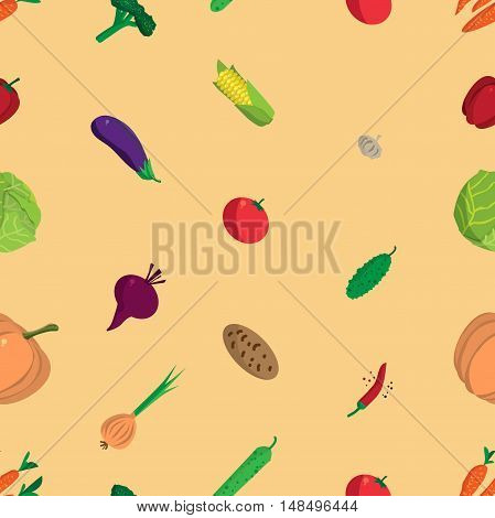 Textile seamless pattern flat cartoon vegetables. Organic healthy food. Harvest autumn agriculture background