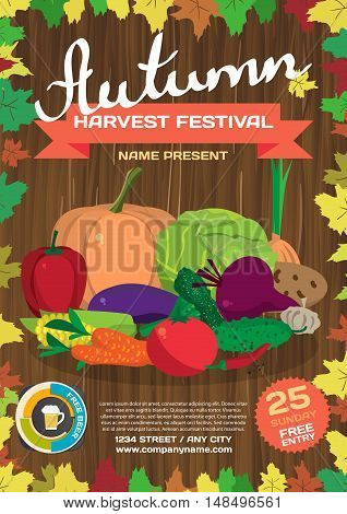 Fall harvest fair template poster. Autumn food festival. Vegetables on the wood background. Vector flat cartoon illustration