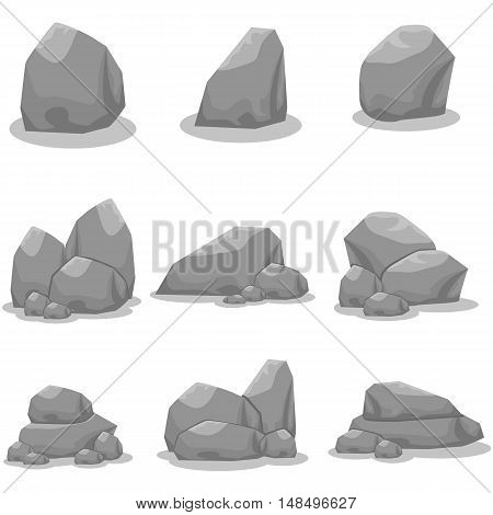 Set of stones element vector art collection