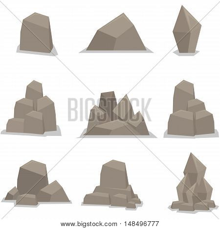 Vector of flat stones set collection stock