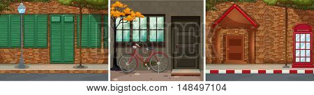 Scenes with building and pavements illustration