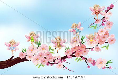 Fairies flying on blossom branch illustration