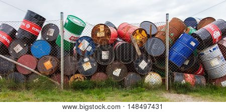 Akranes, Iceland - August 1, 2016: Oil Barrels Or Chemical Drums Stacked Up For Cargo On August 1, 2