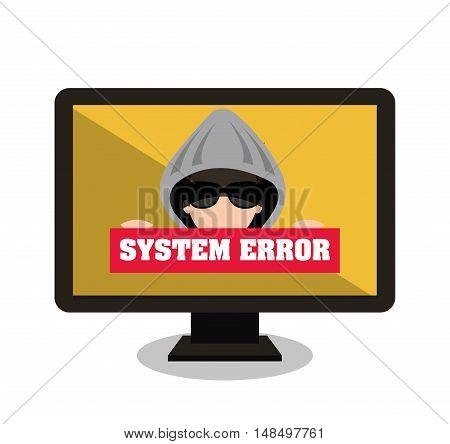 monitor system error alert isolated vector illustration eps 10