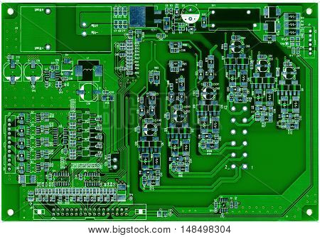 Green printed circuit board ready for assembling isolated on white